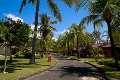 Road in a resort among bungalows Royalty Free Stock Photos