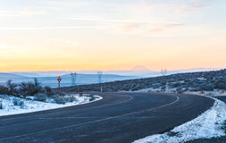 Road in rest area before merge to freeway in the winter ,dusk ti Stock Photo