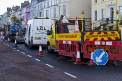 Road restrictions during repair work in Bangor County Down royalty free stock photo