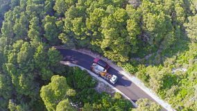 Road resurfacing on Island Mljet, aerial Stock Photography