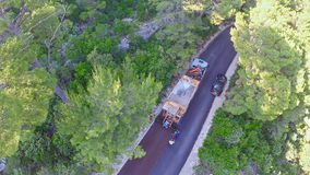 Road resurfacing on Island Mljet, aerial Royalty Free Stock Photography