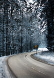 Road - right to turn left. Winding road in forest, snowy wintry season. Road sign curve to left Royalty Free Stock Images