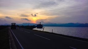 On the Road,river and beautiful sunset... royalty free stock photography
