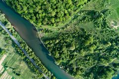Road, river and forest aerial view. Drone photo. Road, river and forest aerial view. Picture taken with a drone royalty free stock photography