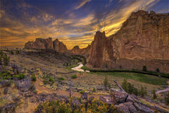 Road and River Through Valley During Golden Sunset Stock Photo