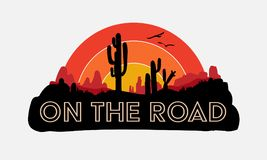 On the road, road trip, slogan, typography, graphic tee, printed design. Vector design for t-shirt printing and embroidery apparel royalty free illustration