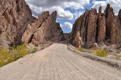 Road between the rocks in the Andes mountains Stock Photos
