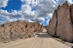 Road between the rocks in the Andes mountains Royalty Free Stock Images
