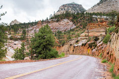 Road through rocks of Zion National Park Royalty Free Stock Image
