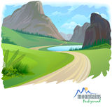Road and Rocky Hills Stock Photo
