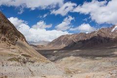Road beside rocky mountain. The road beside the rocky mountain in Leh Ladakh Stock Image