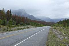 Road through Rocky Mountains in Banff National Park Royalty Free Stock Photo