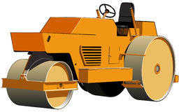 Road roller. Three-wheeled roller ready for road construction work Royalty Free Stock Images