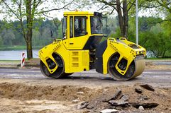 Road roller on asphalt Royalty Free Stock Photo