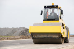 Road roller during asphalt paving works Royalty Free Stock Photography