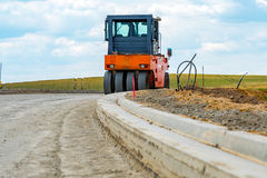 Road roller building the new road Royalty Free Stock Photography