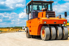 Road roller building the new road Royalty Free Stock Photos