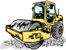 Road roller. On the building site Royalty Free Stock Photo