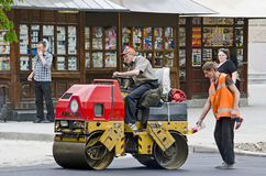 Road roller compacted asphalt Royalty Free Stock Image