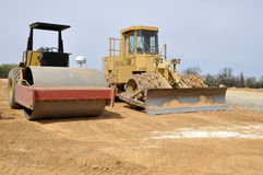 Road roller and compactor royalty free stock photo