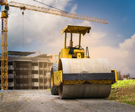 Road roller at construction site Stock Image