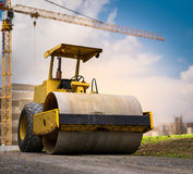Road roller at construction site Stock Photography