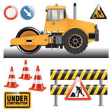Road roller on the construction site Stock Image