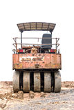 Road roller. Isolated on white background stock photography