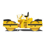 Road roller isolated on white background. Royalty Free Stock Photo