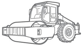 Road Roller outline. Asphal paver. Road Roller illustration  outline. Asphalt paver Stock Image