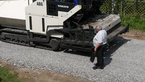Road Roller On Repairing Of The Road stock video footage