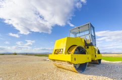 Road-roller on repairing of the road Stock Image