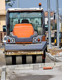 Road roller at the road construction Royalty Free Stock Photo