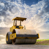 Road roller at road construction site Stock Images