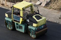 Road roller from top Stock Photo