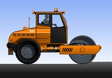 Road roller. Vector illustration of road roller. Orange road roller with the driver. Road works Royalty Free Stock Photography