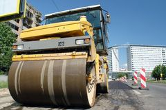 Road roller at work Stock Image