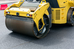 Road roller at work of road Stock Image