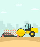 Road roller working on the construction of new road in the city Royalty Free Stock Photography