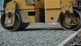 Road Roller Working On Road stock video