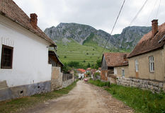 Road in a romanian village Stock Photography