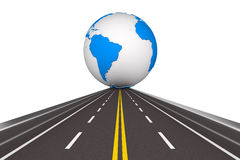 Road round globe on white background Royalty Free Stock Image