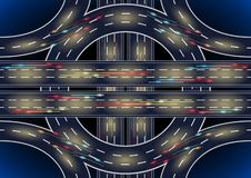 Road roundabout interchange. Auto Road roundabout interchange light traces from cars and city lights at night or late at evening, top view. Vector Illustration royalty free illustration