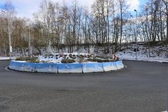 Road roundabout with pictures of snowmen.  stock photography