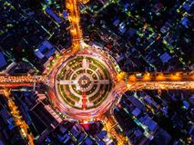 Road Roundabout With Car Lots Wongwian Yai In Bangkok,Thailand.street Large Beautiful Downtown At Night.Aerial View Cityscape. Royalty Free Stock Photography