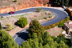 Road through Roussillon fields in France Stock Image