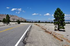 On the road on route 66. August 2013 - California (USA) - View of route 66 in a sunny day Royalty Free Stock Image