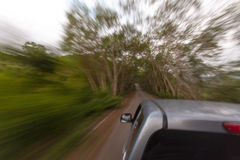 Road route blur truck drive. R sitting goto in the forest Stock Image