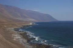 Pacific coast of Chile in the Atacama Desert. Road Route 1 running along the Pacific coast in the Antofagasta Region of northern Chile where the Atacama Desert Royalty Free Stock Photography
