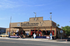 Road Runner Diner. U.S. Route 66 (US 66 or Route 66), also known as the Will Rogers Highway and colloquially known as the Main Street of America or the Mother Stock Images